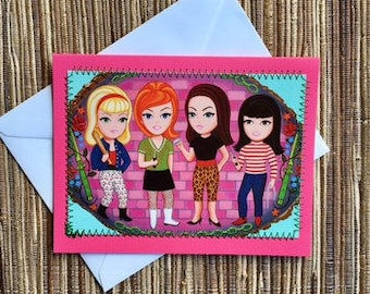thug girls - hand made upcycled card