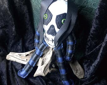 Leather Skull Doll in Purple and Black