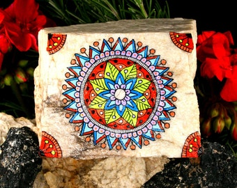 Painted Stone Mandala on an Unusual White Granite Stone For Meditation and Inspiration