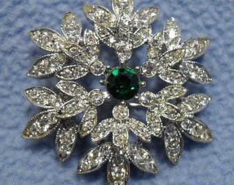 Beautiful Rhinestone Snowflake Brooch with Emerald Center Stone