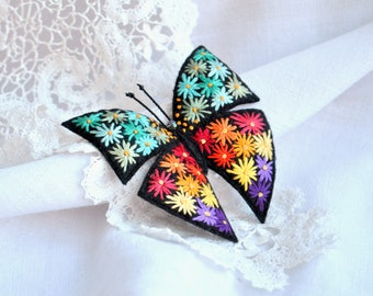 Hand embroidery Butterfly brooch Flower embroidery Felt brooch Embroidery art Colorful butterfly pin Fabric butterfly pin Textile jewelry