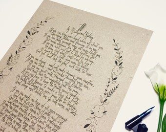 If - Rudyard Kipling, poem, handwritten, calligraphy