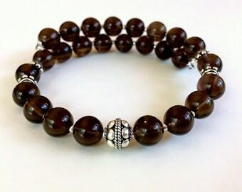 Smokey Quartz Bracelet, Smokey Quartz Wrap Bracelet, Gemstone Bracelet, Sterling Silver Bracelet, Beaded Bracelet, Chunky Bracelet, Quartz