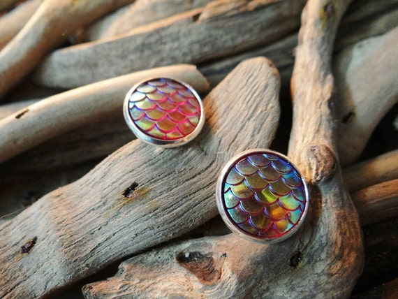 Red I'm Really A Mermaid Scale Scales Tail Dragon Dragons Iridescent Studs Stud Earring Earrings Daenerys Targaryen Ariel Game of Thrones