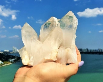 Large Clear Quartz Crystal Standing Cluster infused w/ Reiki / Home Decor