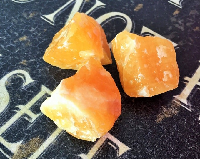 3 Large Orange Calcite Crystals infused w/ Reiki