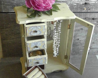 Tall Jewelry Box Yellow and Gray, Rustic Chic Jewelry Armoire, Large Mirrored Jewelry Box, Shabby Jewelry Display Cabinet, Gift For Her