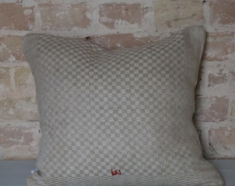 pillow from antique linen: light diamonds 45*40cm