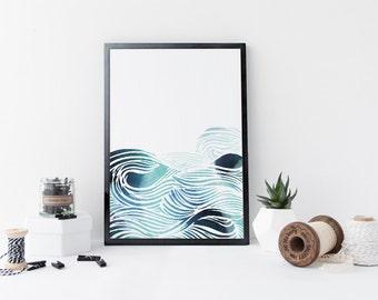 Blue waves wall art, ocean art print, watercolor print, zen print, sea, nautical poster, nursery decor, home wall decor, modern art