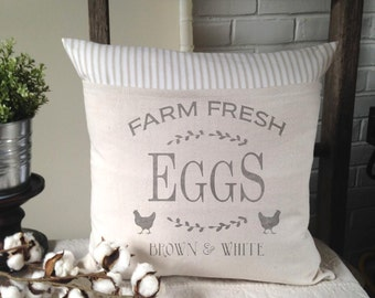 Chicken, Eggs, Fresh Eggs, Farmhouse, Pillow Cover, Country, Ticking