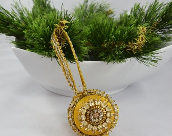 Handmade Gold Satin Sequin Ball Christmas Ornament