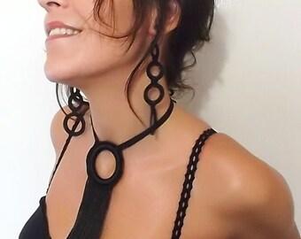 Fringe Necklace, Black Choker, Long necklace, Crochet necklace, Knited necklace, Black Necklace, Tassel Necklace, Textile Necklace
