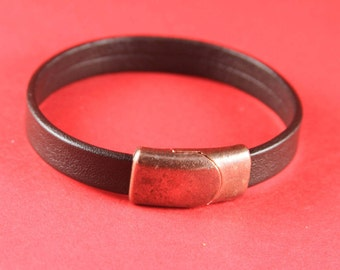 5/2 MADE IN EUROPE copper  magnetic clasp for 10mm flat cord, leather bracelet clasp, flat cord clasp (XM6003AC) Qty1