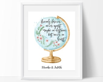 Friendship Printable Art, Friendship Print, Best Friend Gift, Long Distance Friends Print, Friendship Quote, Moving Away Gift, Travel Print