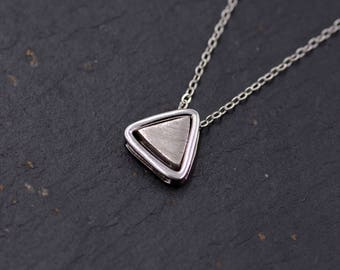 Sterling Silver Geometric Triangle Dainty Pendant Necklace Brushed Finish - Minimalist Design  - 16'' - 18''  Y57