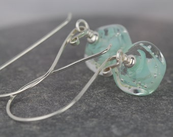 Sterling silver earrings ~ Sarah Downton beads ~ glass nuggets ~ unusual gift ~ delicate colours ~ git for mum  ~ Christmas celebration