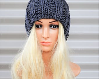 Womens Beanie, Grey beanie, Knitted hat, Handknit hat, Wool beanie, womens gift, chunky knit hat, Womens beanie hats. Mothers day gift.