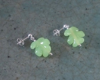 Green leaves, lampwork glass bead and silver stud earrings