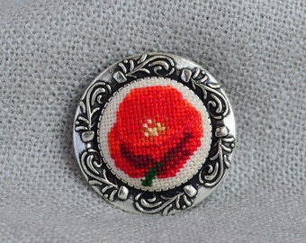 Clothing gift, Red poppy brooch, Cross stitch jewelry, Embroidered brooch, Red jewelry, Hand embroidered gift, Floral brooch, Poppy jewelry