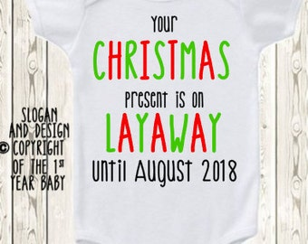 Christmas Pregnancy Announcement  baby Announcement Idea for parents, grandparents  Pregnancy reveal baby reveal ONESIE ® brand bodysuit