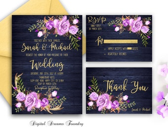Navy Blue Wedding Invitation Printable Purple Floral Wedding Invitation Bohemian Invitation with Antler Rustic Gold Wedding Country Wedding