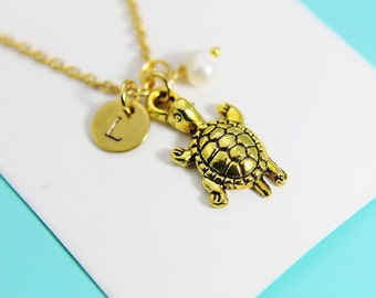 Gold turtle necklace etsy gold turtle charm necklace turtle necklace turtle charm personalized necklace initial charm aloadofball Image collections