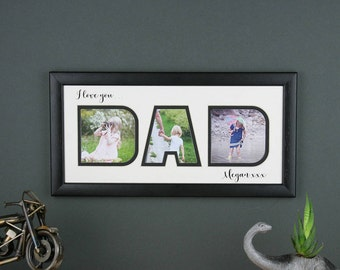 Father's Day photo frame, Personalised Dad photo frame, Father's Day gift, I love you or We love you.