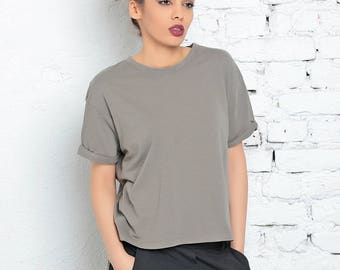 Gray Tee, Asymmetric Top, Casual Top, Minimalist Tee, Cotton Top, Spring Fashion Top, Plus Size Tee, Office Top, Urban Clothing, Party Tee