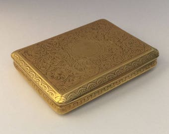 Antique 18k solid gold tobacco box