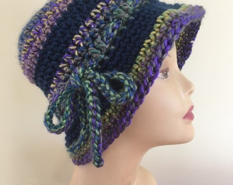 Striped Cloche Hat with Bow