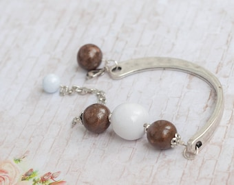 Brown bracelet, Brown bead bracelet, White and brown jewelry, Brown and white bracelet, Pulsera marrón, Bracciale marrone, Brown Armband