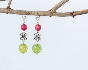 Green quartz earrings, Pink agate earrings, Red agate earrings, Red and green earrings, Clear quartz earrings