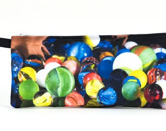 Zippered Pencil Case:  Spilled Marbles
