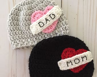 Newborn tattoo hat, baby tattoo beanie, tattoo beanie, newborn baby photo prop, twins, rocker baby, Father's Day
