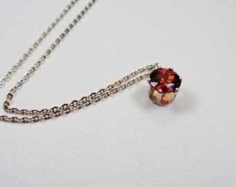 Spessartite Garnet Necklace.  7mm. 2.ct. Natural Spessartite Garnet Silver Necklace.