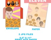 Eleven Stranger Things printable envelope and paper download, downloadable, digital, DIY JPG, PDF planner