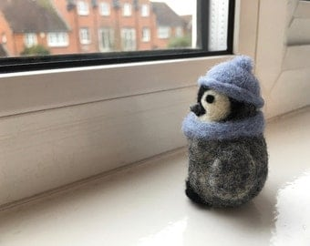 Miniature Needle Felted Penguin with Blue Beanie Hat and Scarf, Felted Penguin Wool Sculpture, Penguin Gifts, Penguin Art