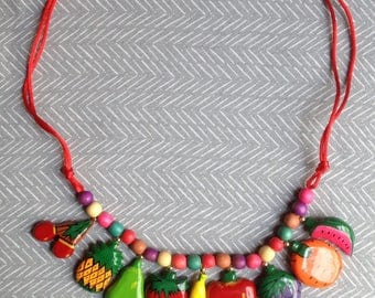 Vintage Fruit Necklace with Matching Pineapple Earrings