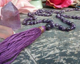 Amethyst Mala Beads, Knotted Mala, 108 Japa Mala Necklace, February Birthstone, Amethyst Mala Prayer Beads for DEEPER MEDITATION + SOBRIETY