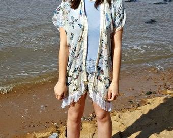 kimono - beach cover up - kimono robe - kimono jacket - beach dress - beach - beachwear - floral kimono - beachwear - beach tunic