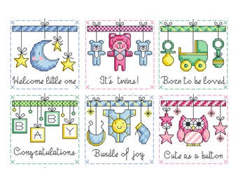 Welcome Baby - Set of 6 - Durene J Cross Stitch Patterns - DJXS2200
