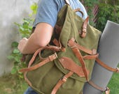Military Backpack with LEATHER STRAPS, Army Hiking Bag, Big Backpack, Vintage Army Rucksack, Heavy Duty Canvas Backpack Army Green