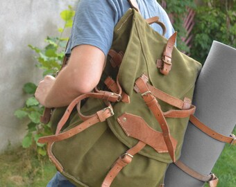 20% OFF Military Backpack with LEATHER STRAPS, Army Hiking Bag, Big Backpack, Vintage Army Rucksack, Heavy Duty Canvas Backpack Army Green