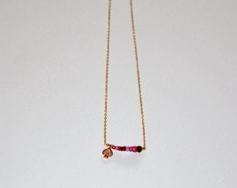 Pink gold plated necklace, micro Rubis and little clover Zircons