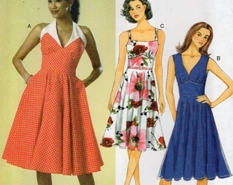 Butterick 6049 Sewing Pattern Free Us Ship Dress Halter Retro Summer Uncut Out of Print 2014 Size 6/14 14/22 Bust 30 31 32 34 36 38 40 42 44