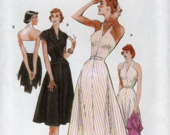Butterick 5214 Free Us Ship Vintage Retro 1940s 40s Halter Dress Bolero Jacket Uncut Size 8/14 16/24 Bust 31 32 34 36 38 40 42 44 46 plus