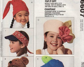 FREE US SHIP McCall's 6607 Girls boy Whimsey Hats Uncut Sewing Pattern Accessories Fashion Chic Fish Baseball Visor African American Ski