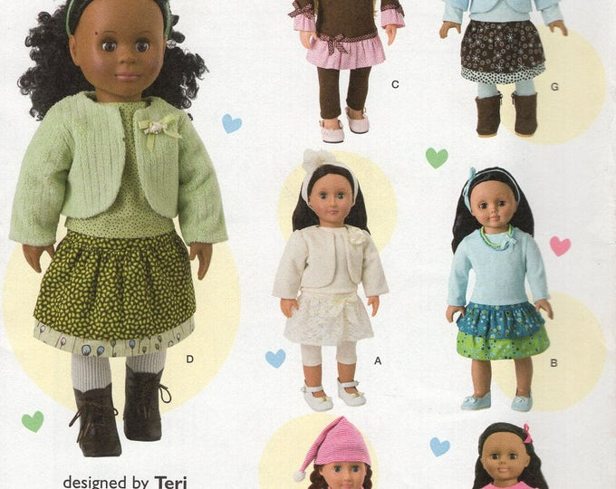 """Simplicity 1515 Free Us Ship 18"""" Doll Clothes Wardrobe New Sewing Pattern Fits American Girl Out of Print Designed by Teri"""