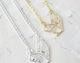 Necklace squirrel origami silvery metal or gold plated, necklace squirrel, jewel squirrel, pendant squirrel, gift for her