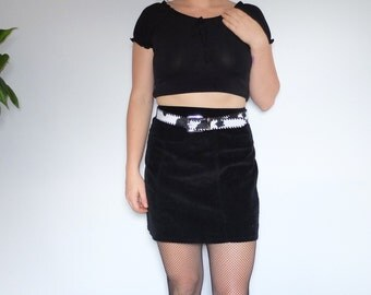 90s Express Jeans Vintage Black Ribbed Corduroy Soft 100% cotton High Waisted Mini Skirt